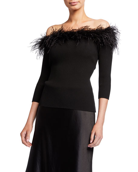 Milly Feather Trim Off-the-Shoulder 3/4-Sleeve Rib Top
