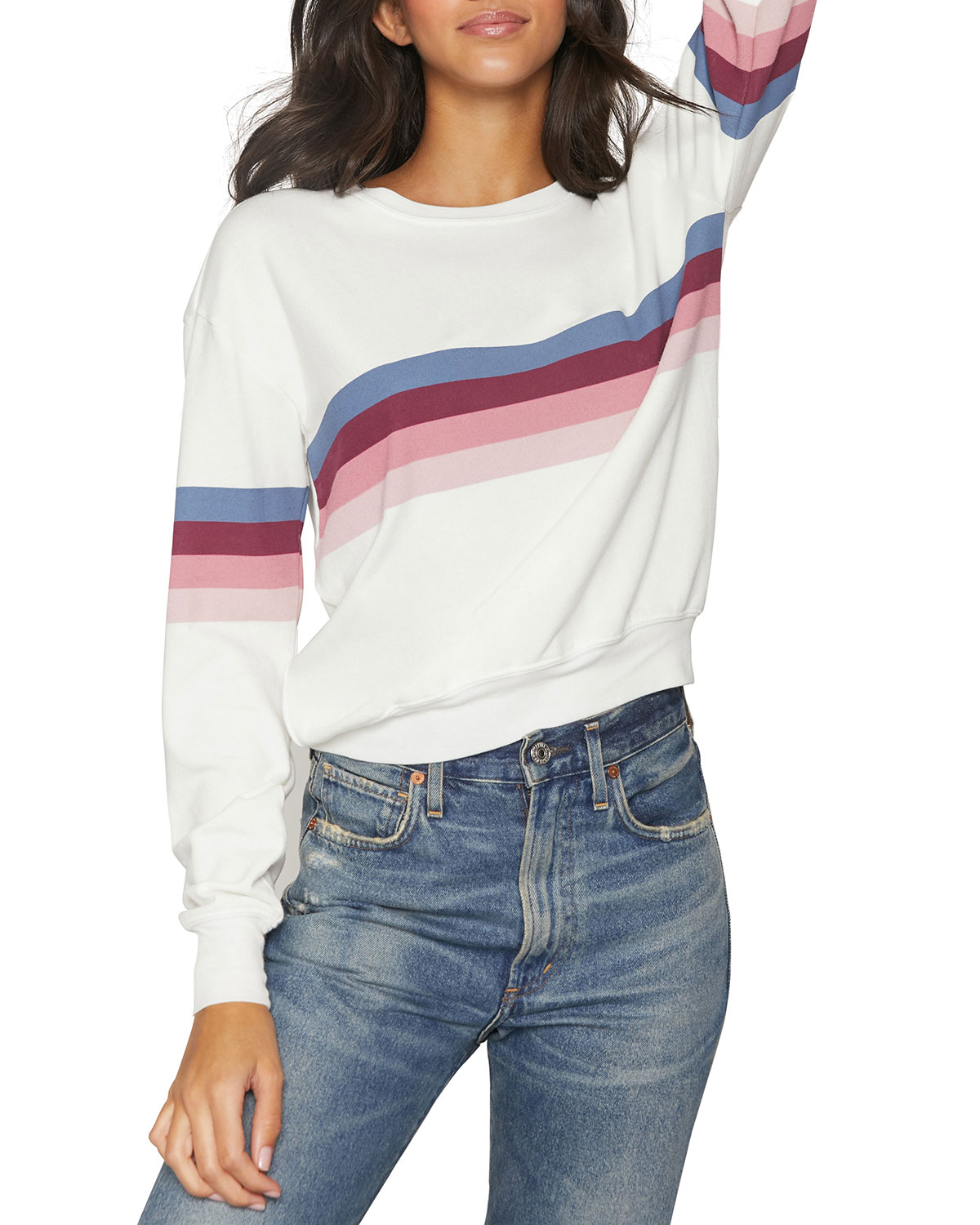 Spiritual Gangster Savasana Striped Crewneck Sweatshirt