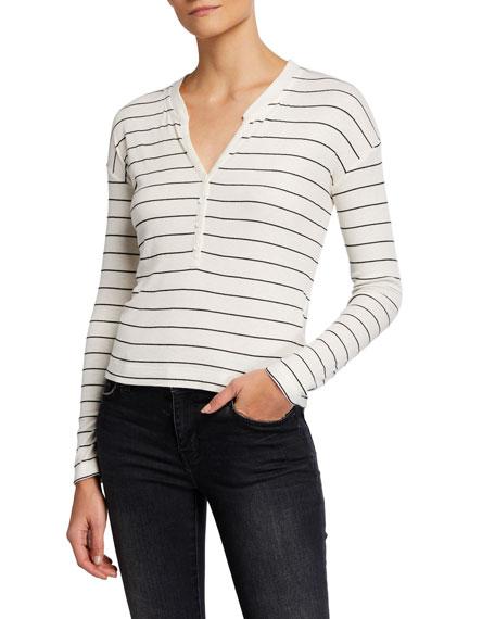 Splendid Striped Long-Sleeve Henley Top