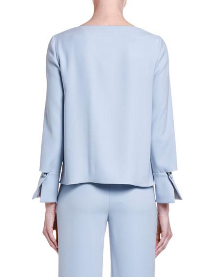 Giorgio Armani Silk-Chambray Draped-Front Tunic Blouse