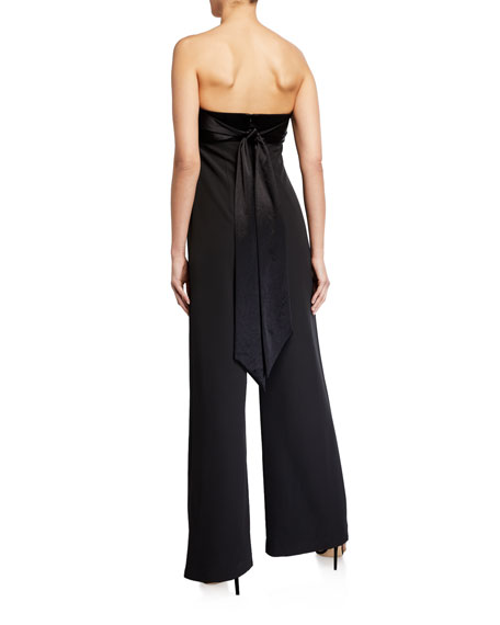 Milly Brooke Strapless Wide-Leg Cady Jumpsuit