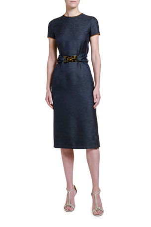 Giorgio Armani Wool Chambray Belted Sheath Dress