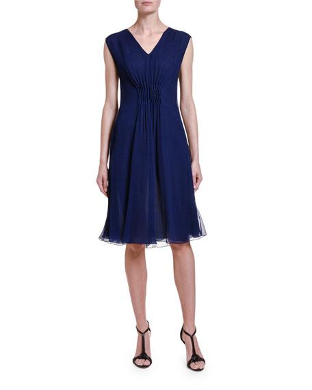 Giorgio Armani Silk-Chiffon Pleated-Front Dress