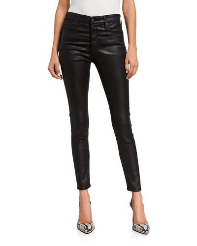 Farrah Sateen High-Rise Ankle Skinny Jeans