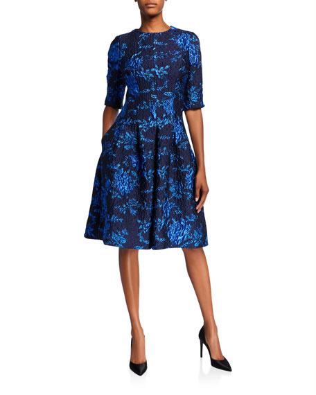 Rickie Freeman for Teri Jon Elbow-Sleeve Textured Jacquard A-Line Dress