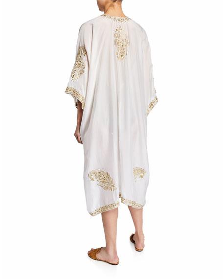Marie France Van Damme Babani Embroidered Coverup Kimono