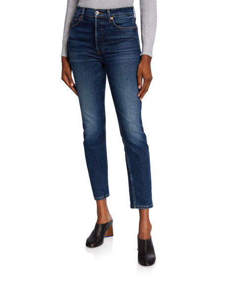Image 1 of 3: RE/DONE High-Rise Skinny Ankle Cropped Jeans
