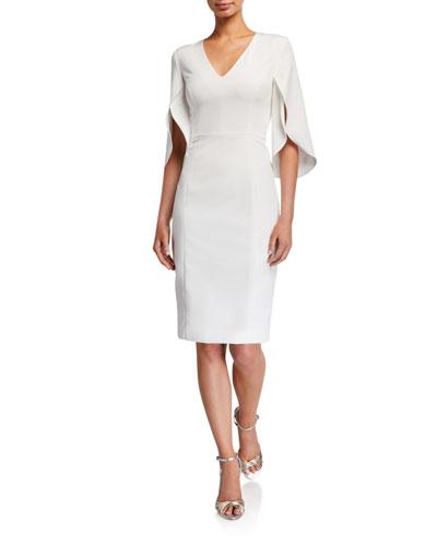 Jana V-Neck Tulip-Sleeve Cady Sheath Dress