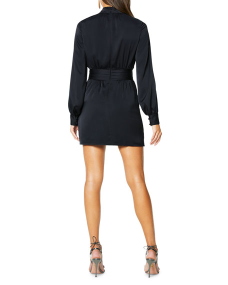 Ramy Brook Angela Mock-Neck Long-Sleeve Short Dress