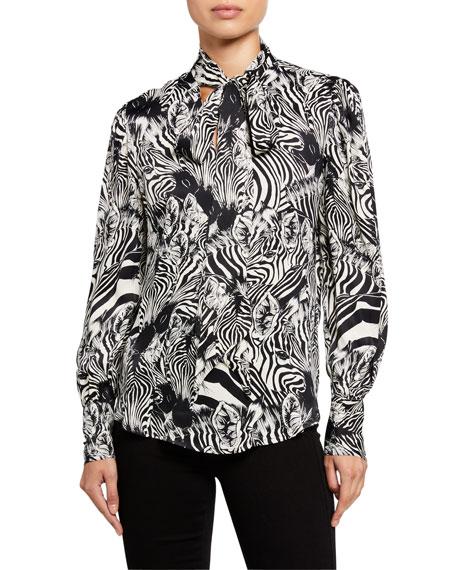 7 For All Mankind Satin V-Neck Zebra-Print Tie Top
