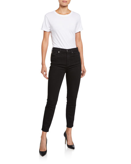 7 For All Mankind High-Waist Ankle Skinny Jeans w/ Metallic Stripes