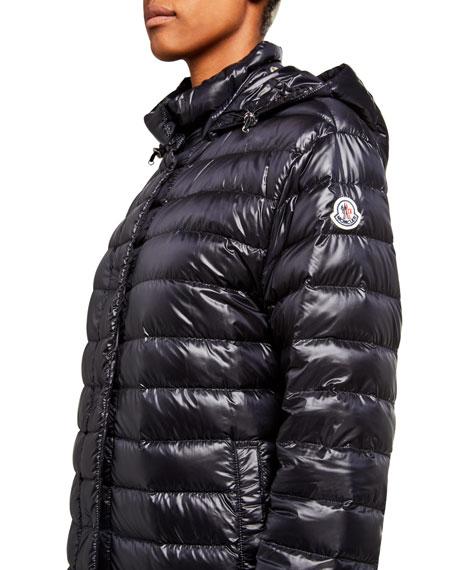 Moncler Long Season Channel-Quilt Down Jacket