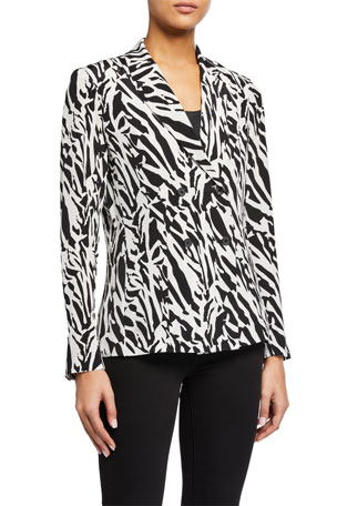 Diane von Furstenberg Courtney Printed Double-Breasted Top
