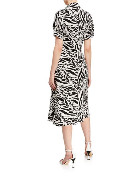 Diane von Furstenberg Deborah Collared Zebra-Print Midi Dress