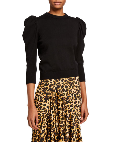 Image 1 of 2: MISA Los Angeles Guthrie Puff-Sleeve Crewneck Top