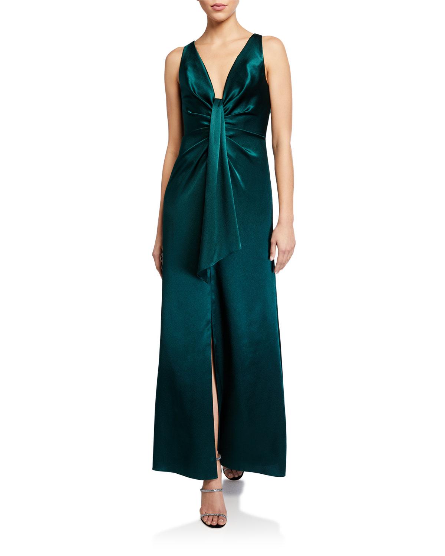 Aidan by Aidan Mattox Draped Front Sleeveless Liquid Satin Gown
