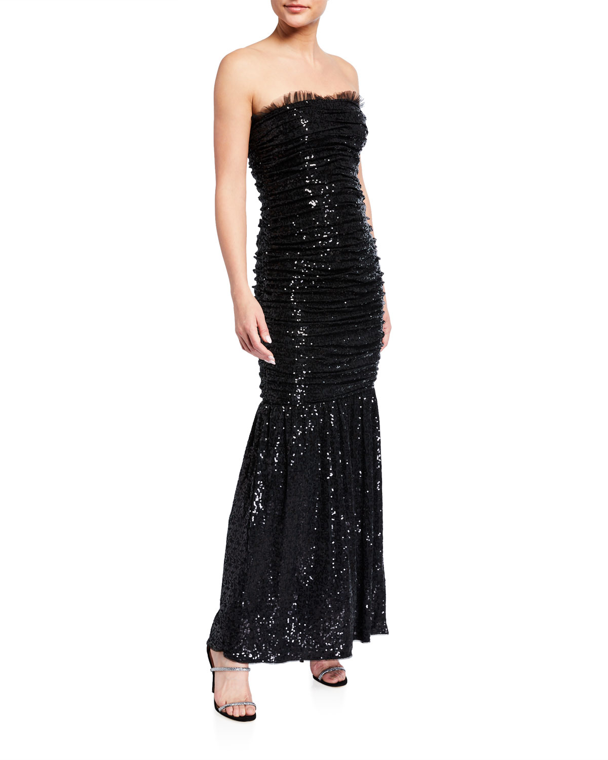 Ruched Sequin Knit Strapless Dress by Aidan By Aidan Mattox