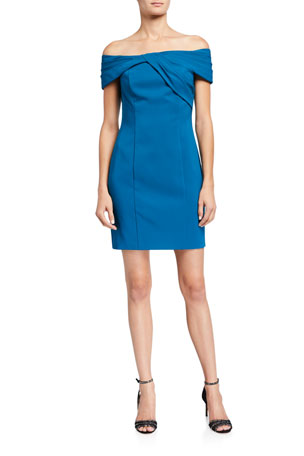 Aidan by Aidan Mattox Twist-Front Off-the-Shoulder Crepe Cocktail Dress