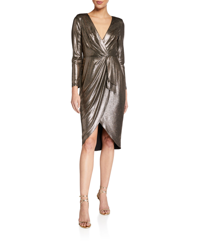 Aidan by Aidan Mattox Foiled Jersey Draped Long-Sleeve Dress