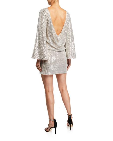 Mestiza New York Anita Sequin Cowl-Back Mini Dress