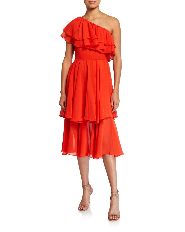 Mestiza New York Hannah One-Shoulder Tiered Ruffle Midi Dress