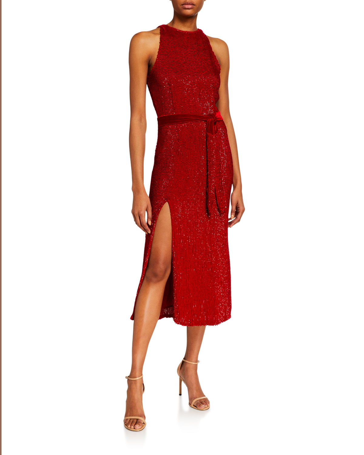 Retrofete Tilly Sequined High-Neck Cocktail Dress
