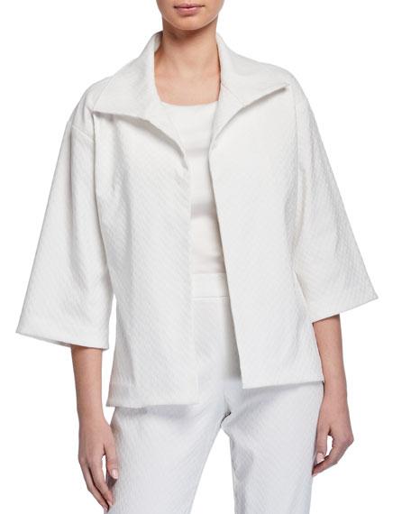 Natori Solid 3/4-Sleeve Jacquard Jacket with Tie