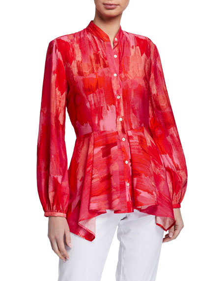 Natori Washed Stripe Print Long-Sleeve Button-Front Blouse