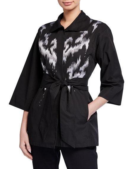 Natori Abstract Printed 3/4-Sleeve Taffeta Jacket