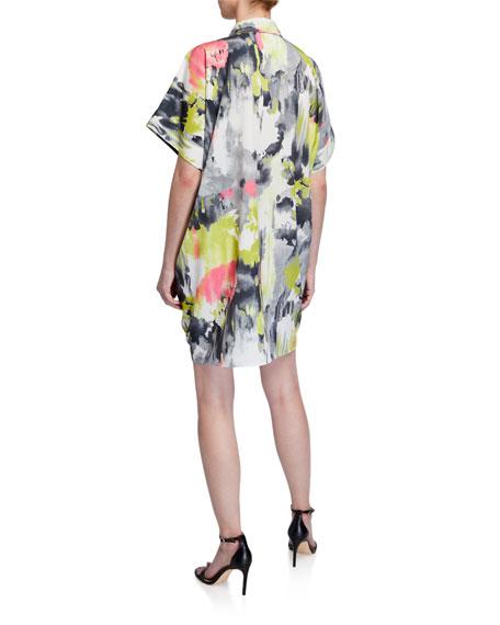Natori Watercolor Printed Short-Sleeve Relaxed Dress