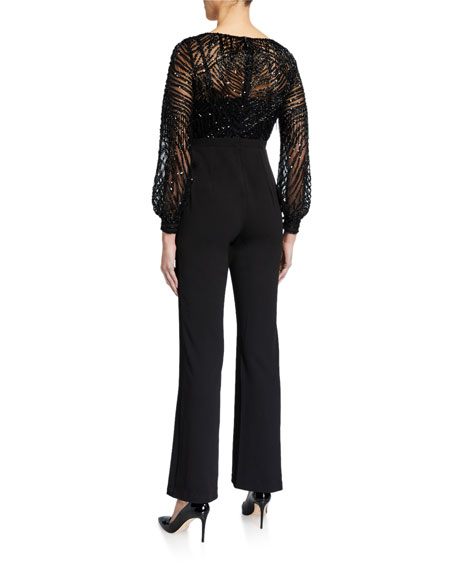 Image 2 of 2: Aidan Mattox V-Neck Beaded-Bodice Jumpsuit