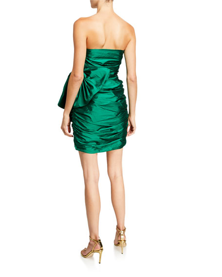 Jay Godfrey Brody Strapless Shirred Mini Dress with Bow