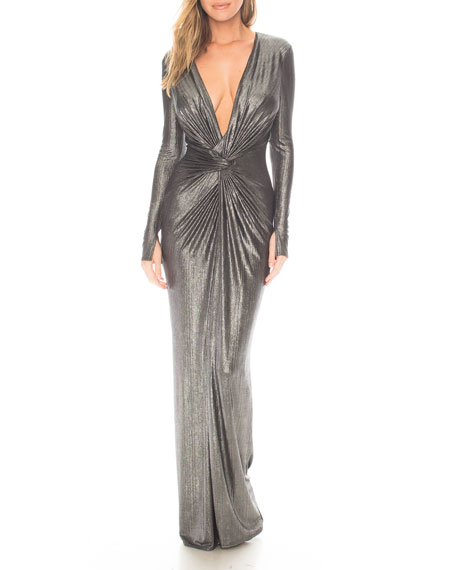 Katie May In A Mood Metallic Deep V-Neck Long-Sleeve Gown