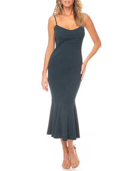 Katie May Twirl Cowl-Back Flounce-Hem Slip Dress