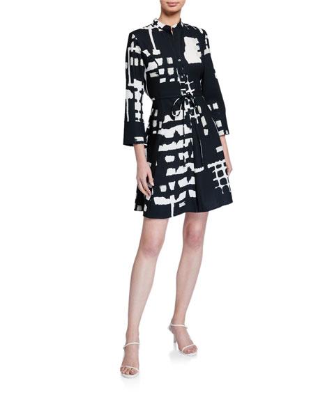 Natori Block-Print 3/4-Sleeve Fit-&-Flare Dress with Tie