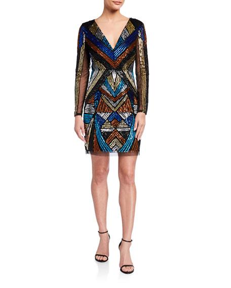 Aidan by Aidan Mattox V-Neck Long-Sleeve Geometric-Beaded Cocktail Dress