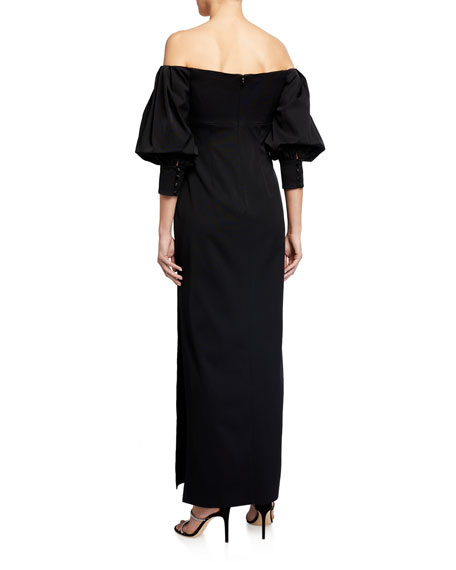 Image 2 of 2: Aidan Mattox Off-the-Shoulder Puff-Sleeve Solid Gown