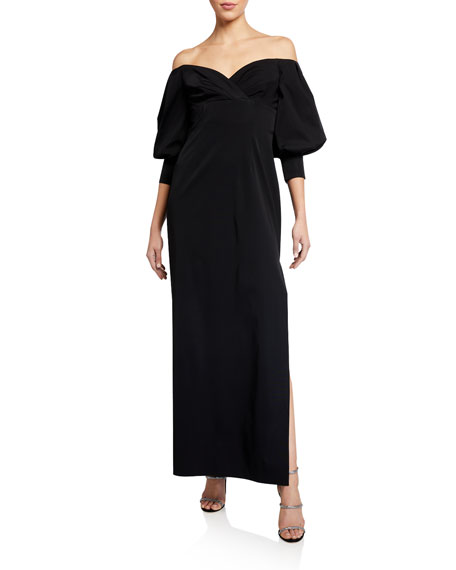 Image 1 of 2: Aidan Mattox Off-the-Shoulder Puff-Sleeve Solid Gown