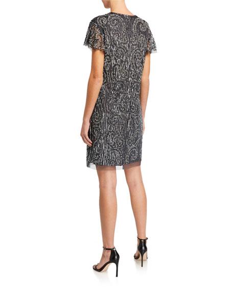 Aidan Mattox Short-Sleeve Beaded Cocktail Dress