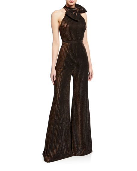 Jovani High-Neck Flare-Leg Jumpsuit with Bow Detail