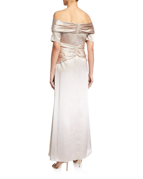 Image 2 of 2: Aidan Mattox Off-the-Shoulder Short-Sleeve Gathered Satin Gown