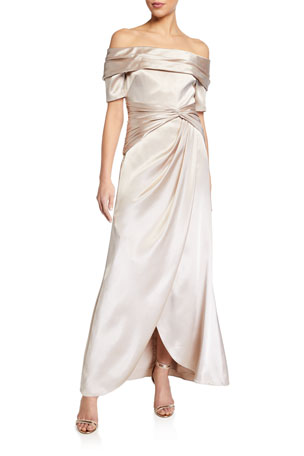 Aidan Mattox Off-the-Shoulder Short-Sleeve Gathered Satin Gown
