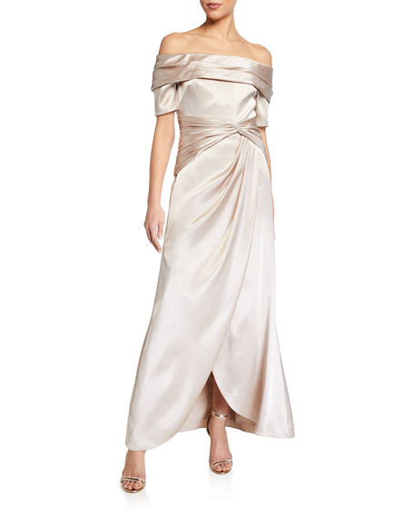 Image 1 of 2: Aidan Mattox Off-the-Shoulder Short-Sleeve Gathered Satin Gown