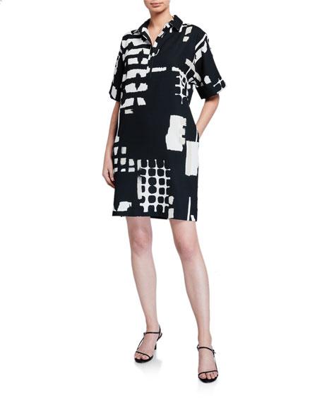 Natori Block-Print Short-Sleeve Dress with Collar