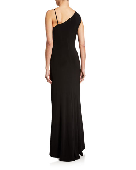 Image 2 of 2: SHO Sleeveless Asymmetric Jersey Gown w/ Mesh Insert Detail
