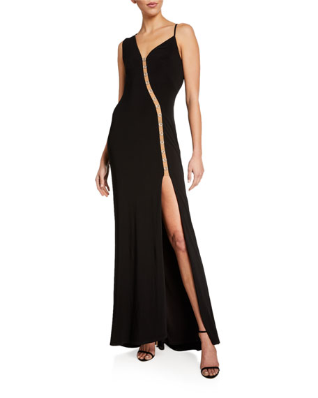 Image 1 of 2: SHO Sleeveless Asymmetric Jersey Gown w/ Mesh Insert Detail