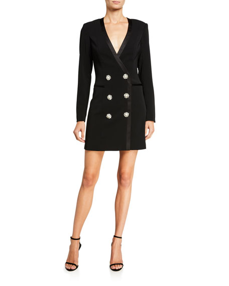 Jay Godfrey Farren Tuxedo Dress with Embellished Buttons