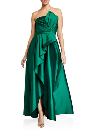 Jay Godfrey Callie Strapless Taffeta Gown w/ Pleat Detail & Draped Skirt