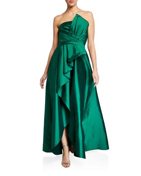 Jay Godfrey Callie Strapless Taffeta Gown w/ Pleat Detail & Draped Skirt