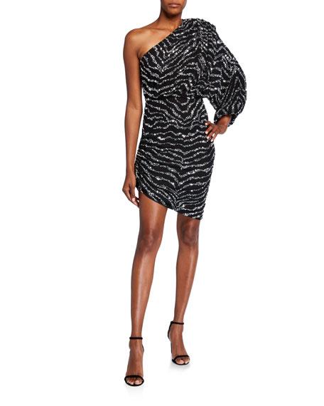 Jay Godfrey Everett Zebra Sequin One-Shoulder Side-Ruched Mini Dress